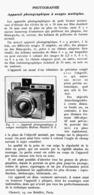 """APPAREIL PHOTOGRAPHIQUE à USAGES MULTIPLE Le """" MAKINA PLAUBEL II S   """" 1939 - Appareils Photo"""
