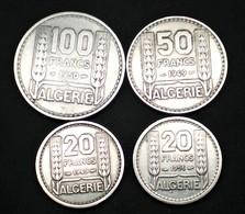 ALGÉRIE LOT 4 MONNAIES 20-50-100 FRANCS DATES DIFFÉRENTES VOIR PHOTOS  (lot Sct N°17) - Algérie