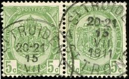 """COB   83  (o) Oblitération """"St Truiden St Trond A""""   En Paire - 1893-1907 Armoiries"""
