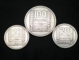 ALGÉRIE LOT 3 MONNAIES 20-100 FRANCS DATES DIFFÉRENTES VOIR PHOTOS  (lot Sct N°19) - Algérie