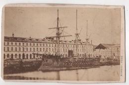 CDV Photo Originale XIXème Album Famille Davy CHERBOURG Marine Militaria Bateau Guerre Par Rideau Cdv 2612 - Photos