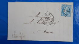 Bordeaux 20 Ct Bleu Sur Lettre De Lille Quartier St Martin 1871 Pour Rouen  Nuance Type Variété  Etc ...voir Photos - 1849-1876: Classic Period