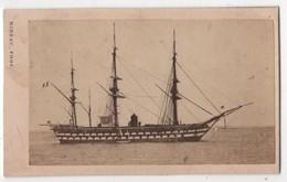 CDV Photo Originale XIXème Album Famille Davy CHERBOURG Marine Militaria Bateau Guerre Par Rideau Cdv 2614 - Photos