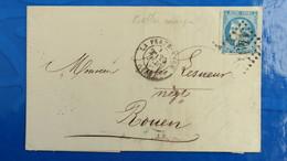Bordeaux 20 Ct Bleu Sur Lettre De La Ferté Macé Orne 1871 Pour Rouen  Nuance Type Variété  Etc ...voir Photos - Marcophilie (Lettres)