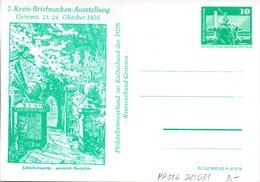 "DDR Privatganzsachen PP 016 D2/031 ""Bauwerke-10Pf.grün-Neptunbrunnen"",""7. Kreis-BM-Ausstellung Grimma"", Ungebraucht - DDR"
