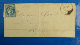 Bordeaux 20 Ct Bleu Sur Lettre De Voreppe Isere 1871 Pour Renage  Nuance Type Variété  Etc ...voir Photos - Postmark Collection (Covers)