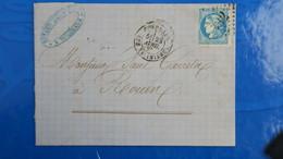 Bordeaux 20 Ct Bleu Sur Lettre De Bordeaux  1871 Pour Rouen  Nuance Type Variété  Etc ...voir Photos - 1849-1876: Classic Period