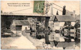 72 BEAUMONT-sur-SARTHE - Pont Suspendu Et Moulin - Beaumont Sur Sarthe