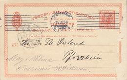 Denmark UPU Postal Stationery Ganzsache Fr. VIII. TMS Cds. KJØBENHAVN K.K.B. 1908 PFORZHEIM REadressed TURNAI In Böhmen - Ganzsachen