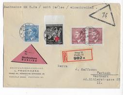 BÖHMEN Und MÄHREN - 1943 - ENVELOPPE RECOMMANDEE CONTRE-REMBOURSEMENT De PRAGUE => FORBACH (MOSELLE) - Böhmen Und Mähren
