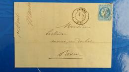 Bordeaux 20 Ct Bleu Sur Lettre De Amiens 1871 Pour Rouen  Nuance Type Variété  Etc ...voir Photos - Marcophilie (Lettres)