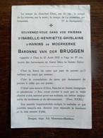 Doodsprentje  D' Isabelle - Henriette - Ghislaine D' Hanins De MOERKERKE  ( Adel ) - Overlijden