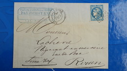 Bordeaux 20 Ct Bleu Sur Lettre De Lille 1871 Pour Rouen  Nuance Type Variété  Etc ...voir Photos - Postmark Collection (Covers)