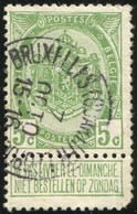 """COB   83  (o) Oblitération """"Bruxelles (Quartier-Léopold)"""" T1L - 1893-1907 Armoiries"""