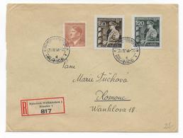 BÖHMEN Und MÄHREN - 1944 - ENVELOPPE RECOMMANDEE De HRANICE => OLOMOUC - Lettres & Documents