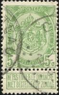 """COB   83  (o) Oblitération """"Casteau """"  T4R 13Pt - 1893-1907 Armoiries"""
