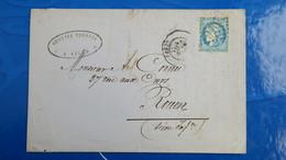 Bordeaux 20 Ct Bleu Sur Lettre De Lille 1871 Pour Rouen  Nuance Type Variété  Etc ...voir Photos - Marcofilia (sobres)