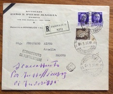 SCONOSCIUTO AL PORTALETTERE SU RACCOMANDATA BUSTA APERTA IMPERIALE 50+50+10 PADONA X CITTA' 4/3/36 - 1900-44 Vittorio Emanuele III