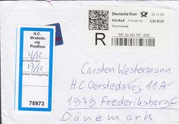 Germany Registered Recommandé Label 2005 Cover Brief H. C. Ørstedsvej Posthus FREDERIKSBERG Denmark - BRD
