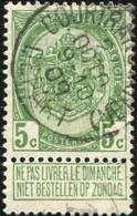 """COB   83  (o) Oblitération """"Courtrai (Station)(Départ)"""" T1L - 1893-1907 Armoiries"""