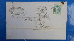 Bordeaux 20 Ct Bleu Sur Lettre De Lille 1871 Pour Rouen  Nuance Type Variété  Etc ...voir Photos - Marcofilie (Brieven)