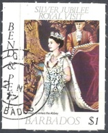 Barbados, 1977 Royal Visit, $1 Multi, Self-adhesive  # SG. 592 - Michel 436 - Scott 469  USED - Barbades (1966-...)
