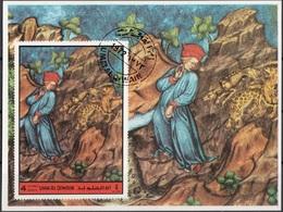 Umm Al Qiwain 1972 Dante Alighieri Virgilio Divina Commedia Purgatorio Miniatura Illustrazione Fg. 3 Imperf. - Ecrivains