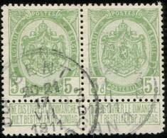 """COB   83  (o) Oblitération """"Gent Gand 3 D"""" T4R  En Paire - 1893-1907 Armoiries"""