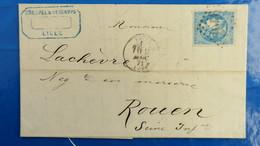 Bordeaux 20 Ct Bleu Sur Lettre De Lille  1871 Pour Rouen  Nuance Type Variété  Etc ...voir Photos - Marcophilie (Lettres)
