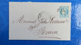 Bordeaux 20 Ct Bleu Sur Lettre De Flers De L' Orne  1871 Pour Rouen  Nuance Type Variété  Etc ...voir Photos - Marcophilie (Lettres)