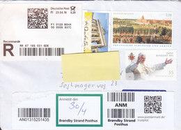 Germany Registered Recommandé Label 2018 Cover Brief BRØNDBY STRAND Denmark Frama Label Papst Benedikt XVI Uncancelled - BRD