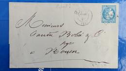 Bordeaux 20 Ct Bleu Sur Lettre De St Brieuc  1871 Pour Rouen  Nuance Type Variété  Etc ...voir Photos - Marcophilie (Lettres)