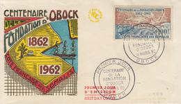 Enveloppe  FDC  1er  Jour   COTE  FRANCAISE  DES  SOMALIS   Centenaire   Fondation  D' OBOCK   1962 - Côte Française Des Somalis (1894-1967)