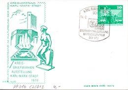 "DDR Privatganzsachen PP 016C2/012 ""Bauwerke-10Pf.grün-Neptunbrunnen"",""Kreis-BM-Ausstellung"", SSt 14.2.76 KARL-MARX-STADT - DDR"