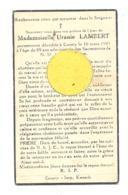 Faire-part De Décès De  Melle Uranie LALBERT - GOUVY 1943  (b243) - Obituary Notices
