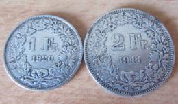 Suisse - 2 Monnaies 1 Franc 1920 Et 2 Francs 1911 En Argent - TTB - Suisse