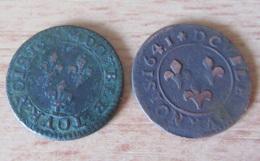 France - 2 Monnaies Double Tournois Louis XIII 1621 A Et Frédéric-Henri De Nassau (Orange) 1641 - TTB - Francia