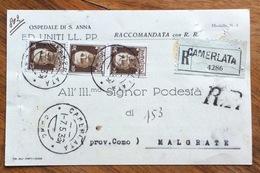 CAMERLATA Lineare + CAMERLATA COMO  CARTOLINA OSPEDALE S.ANNA RACC. PER MALGRATE IN DATA 7/5/36 - 1900-44 Vittorio Emanuele III