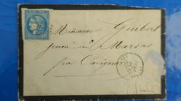 Bordeaux 20 Ct Bleu Sur Lettre De Pessac Gironde  1871 Pour Cavignac  Type Nuances Variété Voir Photos - Marcophilie (Lettres)