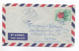 Cover 1965 Sent From Bikfaya To Sweden Stamps Flower Lebanon , Liban - Liban