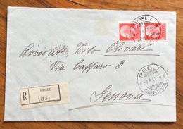 PEGLI GENOVA 7/4/41 SU COPPIA  IMPERIALE 75 C.  RACCOMANDATA PER GENOVA - 1900-44 Vittorio Emanuele III