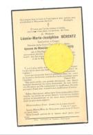 Faire-part De Décès  Mde Léonie BERENTZ, Institutrice à CRUPET ép.de A. Schots - HARDIGNY 1886/ BRUXELLES 1935  (b243) - Overlijden