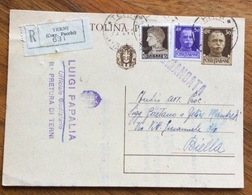CARTOLINA POSTALE 30 C. RACCOMANDATA DA TERNI A BIELLA IN DATA 23/8/41 - 1900-44 Vittorio Emanuele III