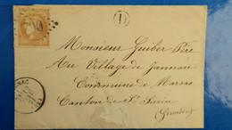 Bordeaux N° 43 Sur Lettre De Cavignac Gironde ( Facteur D ) Pour Marsas  12 Janvier 1871 Voir Photos - Marcofilia (sobres)