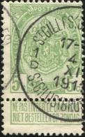 """COB   83  (o) Oblitération """"St-Gilles (Bruxelles) St-Gillis (Brussel) 1D""""  T4R - 1893-1907 Armoiries"""
