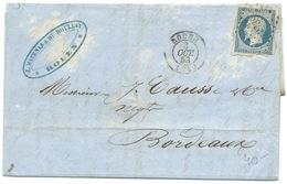 N° 10 BLEU NAPOLEON SUR LETTRE / ROUEN 1853 - Marcophilie (Lettres)