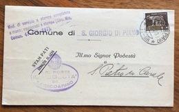 """S.GIORGIO IN PIANO (11-98)  11/12/38 Su Imperiale 5 C. ISOLATO TIMBRO """"modulo Servizio A Stampa Completato Amano...."""" - 1900-44 Vittorio Emanuele III"""