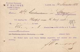 Germany Reichspost Postal Stationery Ganzsache PRIVATE Print C. F. MAURER Rosshaar-Spinnerei LAHR Baden 1886 SPEYER - Deutschland