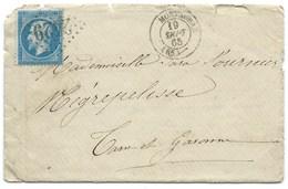 N° 22 BLEU NAPOLEON SUR LETTRE / MONTAUBAN POUR NEGREPELISSE / 1865 - Marcophilie (Lettres)