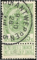 """COB   83 A  (o) Oblitération """"Antwerpen Anvers 5 C"""" T4R - 1893-1907 Armoiries"""
